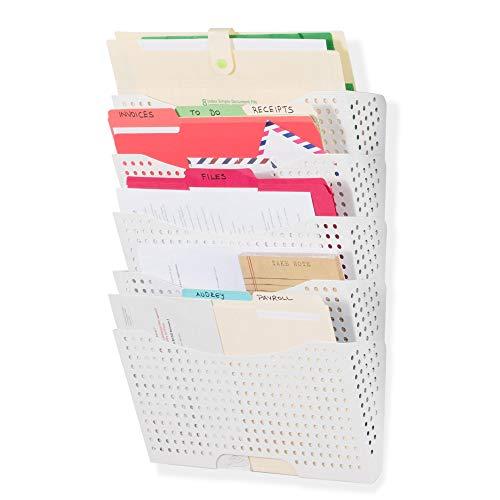 Wallniture Lisbon Wall File Holder Organizer - 5 Tier Modular Stackable Design - Wall Hanging File Folders Letter Size - Multi-Purpose Magazine Rack Wall Mounted Display, Metal Steel, White