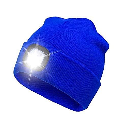 Dgtyui Regalo di festa 4LED Casco da cappello portatile leggero e leggero illuminato Casco da motocross lavorato a maglia Caldo, morbido e confortevole - Blu XL
