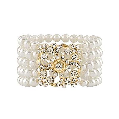 Metme 1920s Gatsby Accessories Imitation Pearls Rhinestone Bracelet Adjustable Ring Set