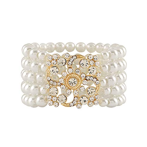 Memte 1920s Flapper Bracelet Bangle Simulated Pearl Crystal Bracelet Great Gatsby Jewelry Accessories (5 Rows)