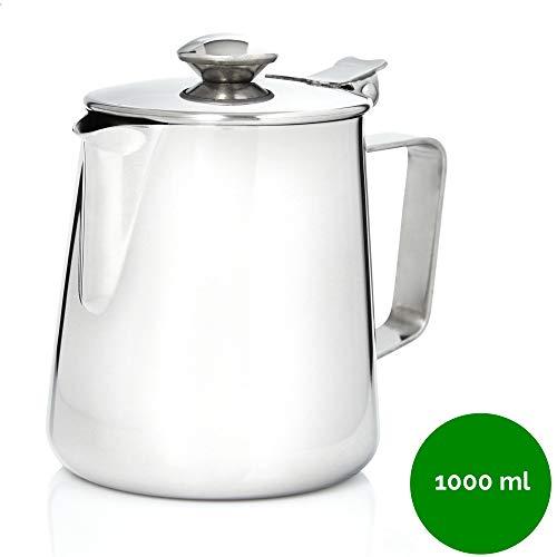 Kerafactum Kaffeekännchen Kännchen für Kaffee aus Edelstahl | Milchkännchen Sahnekännchen Teekanne Kaffeekanne | Sahne Kanne mit Deckel für Milch Tee Kaffee| Pitcher Milk can Henkelkanne 1000 ml