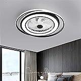 JYDNBGLS Ventilador de techo de 24 pulgadas con luces, moderno doble círculo invisible LED ventilador lámpara semi empotrada montaje tricolor atenuación con control remoto