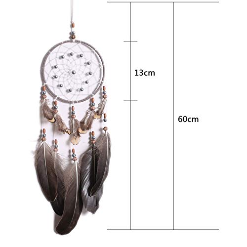 Shop-PEJ Nice Dream New brown 1 rings Large pine stone beads dream catcher Home crafts wall decoration Car hanging Home handmade handicraft ornament for Wall Hanging Decoration (Color : Dark Khaki)