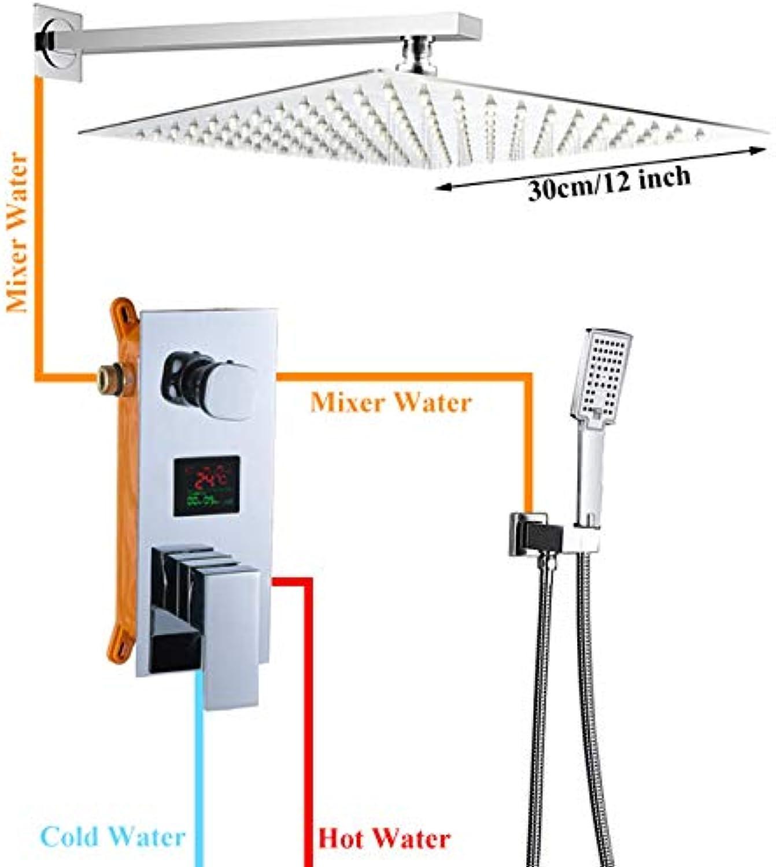 SHIJING Bad Wasserhahn Chrom Polnisch Digitalanzeige Regen Dusche Bad Wasserhahn Wandhalterung Badewanne Dusche Mischbatterie Bad Dusche Wasserhahn,3