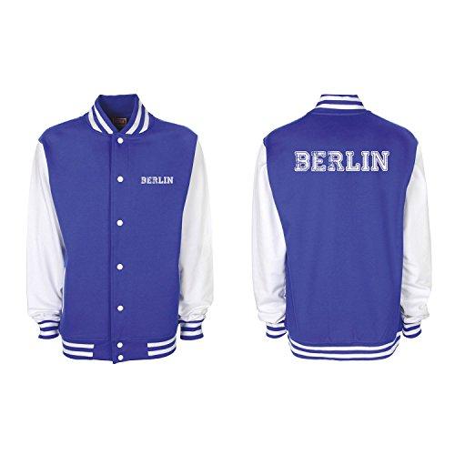 Shirt-Panda College Jacke Berlin Baseball Jacke Damen Herren XS-3XL Royal Blue/White S