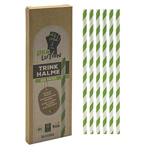 Ökolution Einweg-TRINKHALME aus Papier, 20 Stück, Länge 20 cm, unsere FSC-Zertifizierten Strohhalme sind industriell kompostierbar, für Grillpartys/ Hochzeiten und Geburtstage, zweifarbig