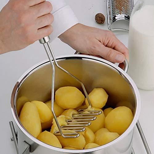 Bebliss - Prensador de patatas de malla ondulada de acero inoxidable, duradero, práctico utensilio de cocina, ideal para puré de patatas