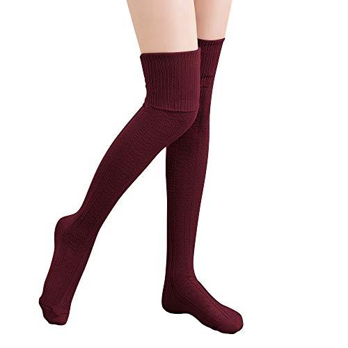 HITOP 1 Paar Damen Overknee Überknie Kniestrümpfe Mädchen Hold-up-Strümpfe Retro Schüler Knitting Sportsocken (Dunkelrot)
