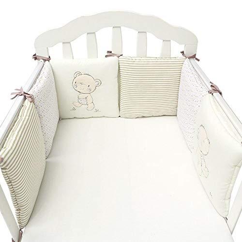 Cuscini paracolpi per lettino traspiranti in cotone per culle standard Set materassino imbottito per lettino imbottito per paracolpi per bebè, imbottitura per culla, combinazione libera 6 pezzi