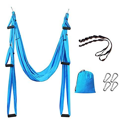Funight Home Aerial Yoga Swing,Hamaca de yoga para antena portátil, duradera, herramienta de inversión de trapecio para yoga, pilates antigravedad, azul cielo