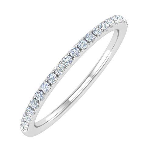 14K White Gold Half Eternity Diamond Wedding Band Ring for Women (0.15 Carat) - (Ring Size 6.5)