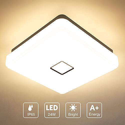 Onforu 24W LED Lámpara de Techo Cocina, CRI 90+ IP65 Impermeable 2400LM LED Plafón Cuadrado para Salón Dormitorio Baño Aseo Habitación Terraza Comedor, Igual al 220W, 2700K Blanco Cálido Moderna