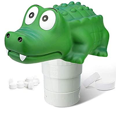 Chlorine Floater, Collapsible Crocodile Pool Chlorine Dispenser, Max to 4pcs 3in Bromine Floater, Release Adjustable for Indoor Outdoor Swimming Pool Hot Tub SPA (Big Crocodile)