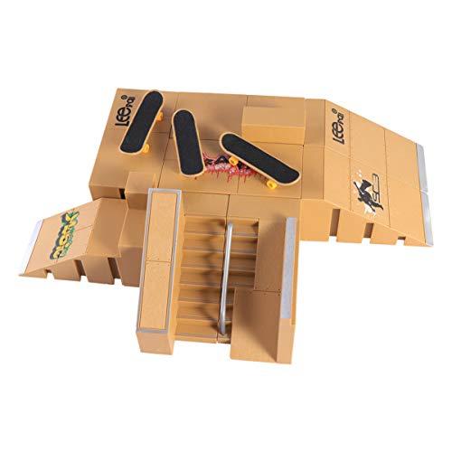 Kisangel Skate Park Kit Finger Skateboard Ramp Parts Mini Fingerboard Rail Finger Board Training Toy for Kids Children Students