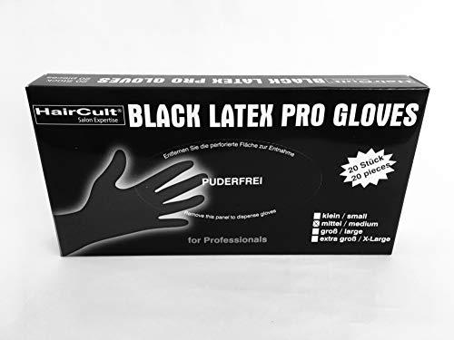 HairCult schwarze wiederverwendbare Friseur Latexhandschuhe - ohne Puder - Größe: M - Inhalt: 20 Stück Box