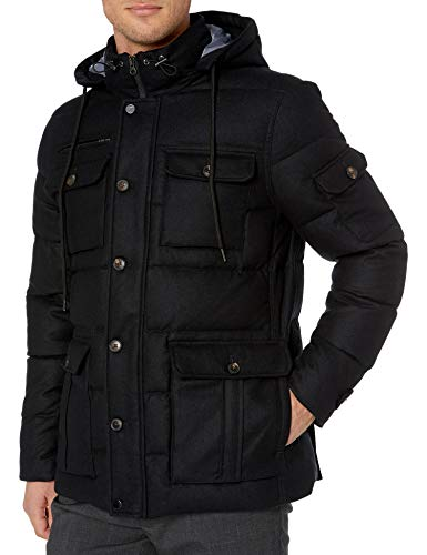 Amazon Brand - Buttoned Down Men's Water Repellant Duck Down Wool Flannel Parka, Black XS