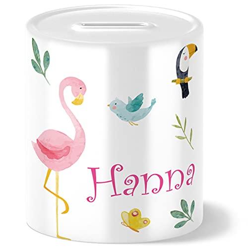 Safari Flamingo Kinder Spardose Personalisiert mit Namen Geschenke Geschenkideen für Mädchen zum Geburtstag Einschulung Taufe Geburt Sparschwein