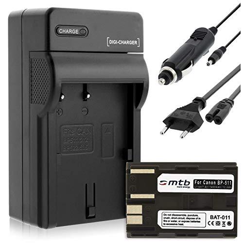 Batería + Cargador (Coche/Corriente) para Canon BP-511 / EOS 5D, 10D, 50D. / Powershot G1, G2, G6 / Optura. Ver Lista!