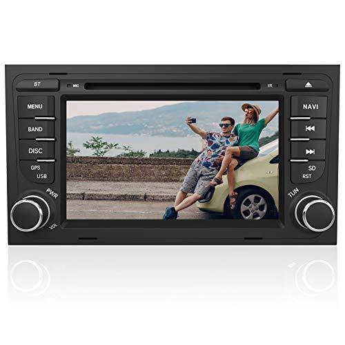 AWESAFE Radio Coche 7 Pulgadas con Pantalla Táctil 2 DIN para Audi A4/S4/RS4, Autoradio con Bluetooth/GPS/FM/RDS/CD DVD/USB/SD/RCA, Apoyo Mandos Volante, Mirrorlink y Aparcamiento