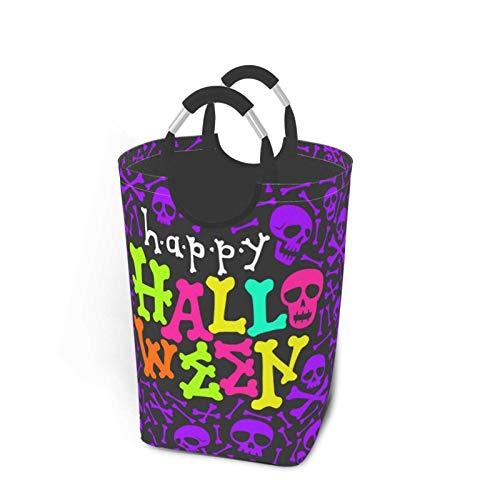 Cesto de lavandería portátil plegable para fiestas de Halloween, que brilla en la oscuridad, vector, soporte organizador de cestas de ropa sucia con asa para libros de juguete, almacenamiento de lavad