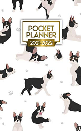 Pocket Planner 2021-2022: Two-Year 24 Month Calendar Organizer Agenda with Vision Boards and Motivational Quotes. Funky Baby French Bulldog.