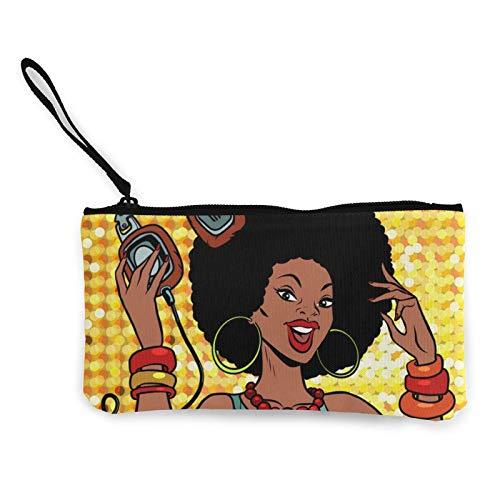 Moneda de lona, Dj de mujer afroamericana con auriculares, bolsa de cosméticos de viaje con cremallera, bolsas de maquillaje multifunción para teléfono móvil, paquete de lápices con asa