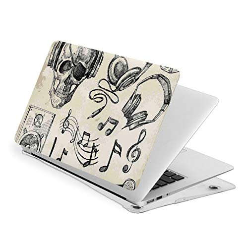 Laptop Case for MacBook, Hipster Skull with Headphones Mic Laptop Computer Hard Shell Cases Cover (new air13 / air13 / Pro13 / Pro15)
