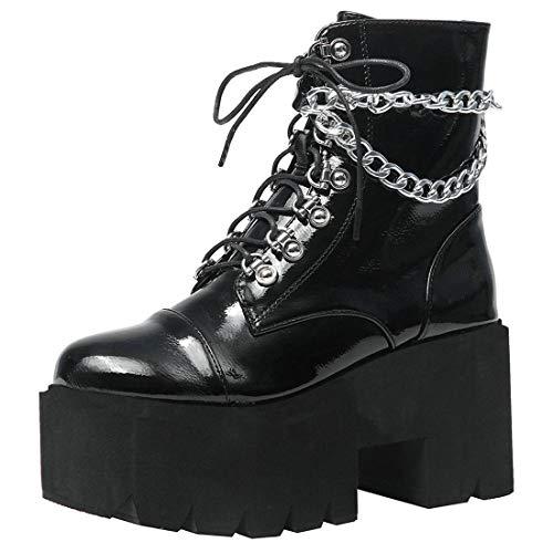 Etebella Damen Gothic High Heels Biker Boots mit Plateau Blockabsatz Schnürstiefeletten Punk Gefüttert Schuhe(Schwarz,41)