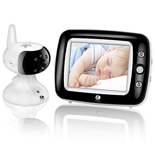 Video Baby Monitor with Camera and Audio, Infrared Night Vision 3.5-Inch Color LCD, Zoom Room Temperature, Lullabies, Long Range and Enhanced Two-Way Audio