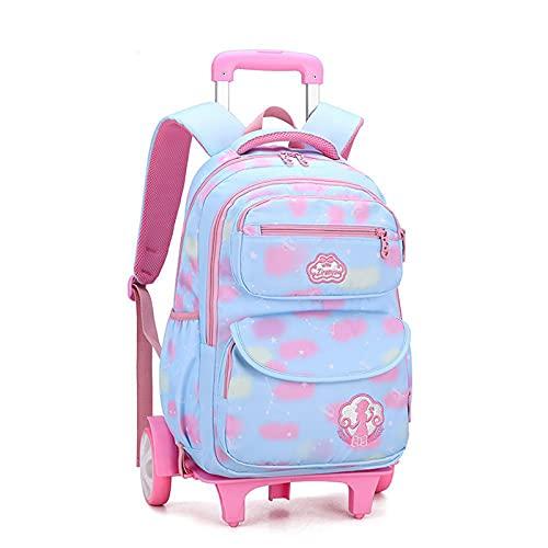 JKHN Mochila para niños con ruedas, mochila con ruedas, ligera, impermeable, informal, para niñas de 6 a 12 años, color azul