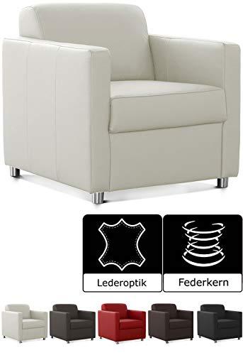 CAVADORE Corianne Sessel, mit Federkern, Polstersessel in Lederoptik Design, 78 x 80 x 83, Kunstleder: weiß