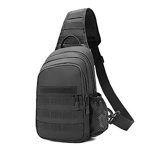 BAIGIO Small Tactical Sling Bag One Shoulder Chest Backpack Casual Daypack (BLACK)