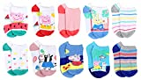 Peppa Pig Little Girl's 10-Pack No Show Socks, White/Red/Blue, Sock Size 4-6 (Shoe Size 7-10)