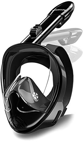 Vorshape Full Face Snorkel Mask with Upgraded Safety Breathing System - 180° Panoramic Seaview Scuba Mask & Snorkel Set, Anti-Fog & Anti-Leak Swimming Mask with Camera Mount, Fit for Adult Youth Kids