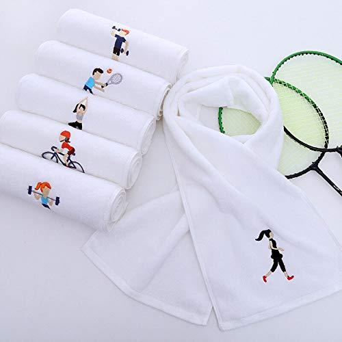 Toalla deportiva, exquisita artesanía bordada, suave, alargada, absorbente del sudor, adecuada para deportes fitness.