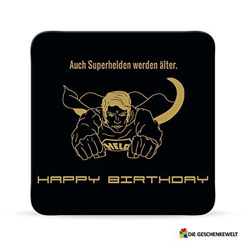 Sheepworld, Black Chili - 44653 - Untersetzer Nr. D7, Auch Superhelden werden älter. Happy Birthday, Kork, 9,5cm x 9,5cm