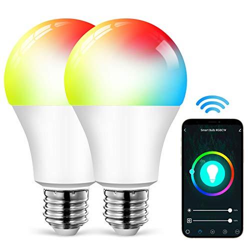 ALUOCYI Alexa Bombillas LED E27 Smart LED multicolor regulable 9...