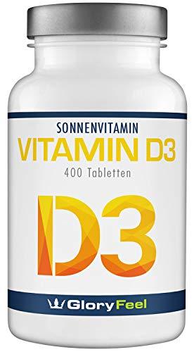 GloryFeel Vitamin D3 1000 IE Hochdosiert - 400 Tabletten für über 1 Jahr - Unterstützt Knochen-,...