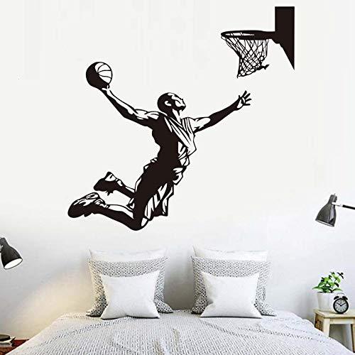 60.5X58Cm, pegatinas de pared para niños, jugador de baloncesto, disparar a la canasta, murales fondo, hogar, niños, vinilo, cumpleaños, baño, impermeable, sala de estar, adorno, cocina, mural