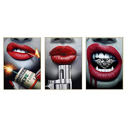 CNHNWJ Blutroter Lippenstift Sexy Lippe mit Pistole und Geld Poster und Kunstdrucke Mode Leinwand Gemälde Bild Moderne Wanddekoration für Raumdekoration (40x60cmx3 / kein Rahmen)