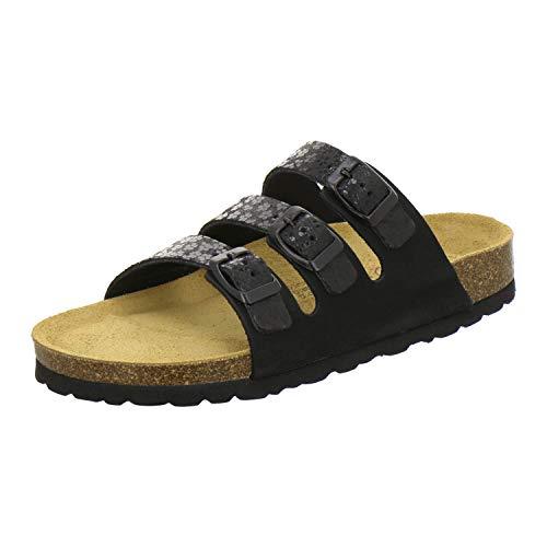 AFS-Schuhe 2133 sportliche Damen Pantoletten aus Leder, praktische Arbeitsschuhe, Bequeme Hausschuhe, Made in Germany (38 EU, schwarz/schwarz)