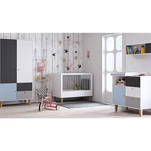 Chambre complète lit évolutif 70x140 - commode à langer - armoire 2 portes Concept - Bleu