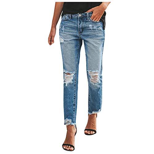 Ghemdilmn Zerissene Jeans Damen Niedrige Taille Jeanshosen Freizeit Schlanke Leggings Gerade Hosen Stretch Skinny Jeans Bootcut Denim Hosen Bleistift Hosen mit Löchern