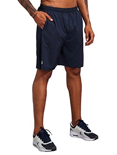 Men's 7 Inch Workout Running Shorts - Quick Dry Lightweight Athletic Gym Training Shorts with Zip Pockets Navy