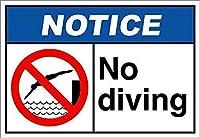 高輝度錫看板、ダイビング通知なしOSHA、私有財産の警告標識金属屋外危険標識錫肉看板アートヴィンテージプラークキッチンホームバー壁の装飾