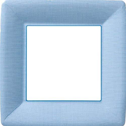 Ideal Home Range PEG10149 8 Count Square Paper Plates, 10-Inch, Classic Linen Light Blue
