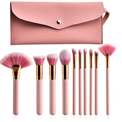 Pinceau De Maquillage Set - 10 Pinceaux De Maquillage Rose, Fond De Teint Liquide Fond De Teint Liquide Ombre À Paupières Lip Gloss Badigeonner Avec Sac