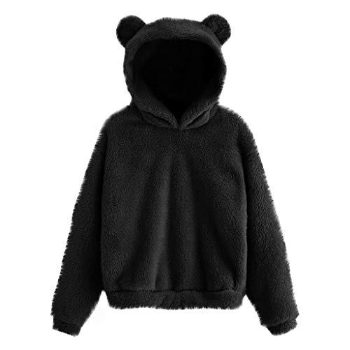 Ansenesna Damen Hoodie Mit Ohren Flauschig Warm Kapuze Elegant Pullover Frauen Plüsch Fleece Einfarbig Pulli