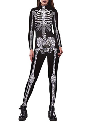 Auremore Women's 3D Skeleton Print Bodysuit Costumes Cosplay Jumpsuits Rompers Silver Skull XL