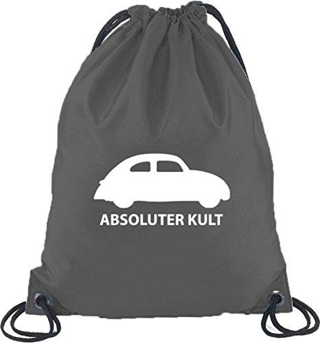 Shirtstreet24, ABSOLUTER KULT - AUTO, Turnbeutel Rucksack Sport Beutel, Größe: onesize,Dunkelgrau